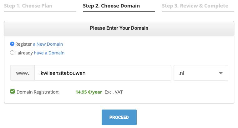 SiteGround kies een domein