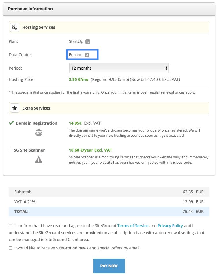 SiteGround koop een domain