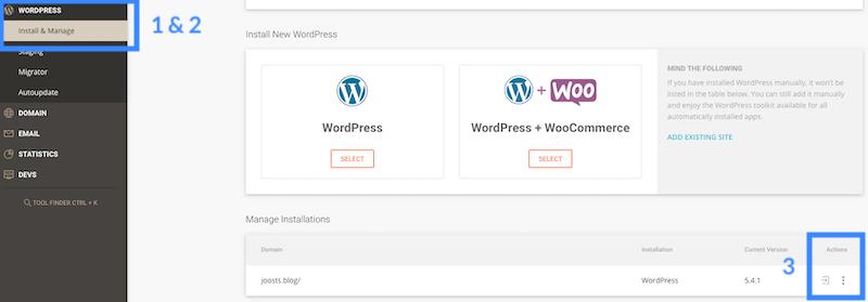 SiteGround inloggen WordPress