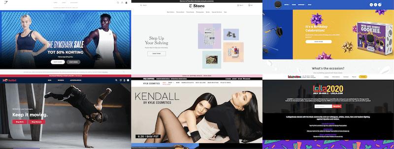 Voorbeelden van websites die met Shopify gebouwd zijn.