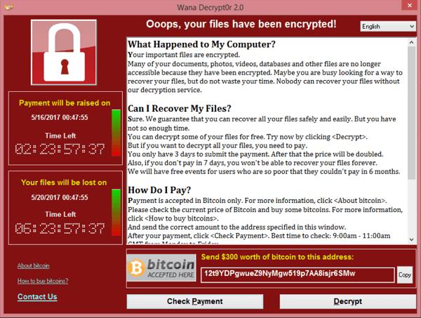 Slachtoffers van WannaCry ransomware zagen dit scherm.