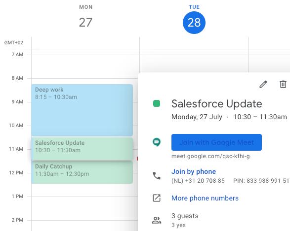 Google meet invite sturen via Google Agenda