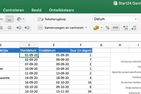 """Selecteer de eerste en laatste datum uit de kolom """"Startdatum"""" en """"Einddatum"""""""