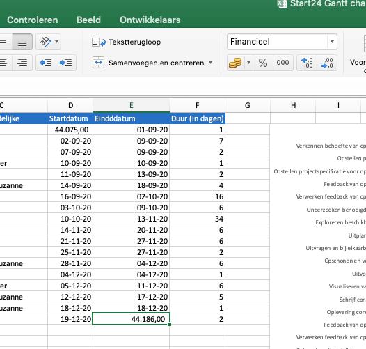 Excel vormt datums naar getallen om