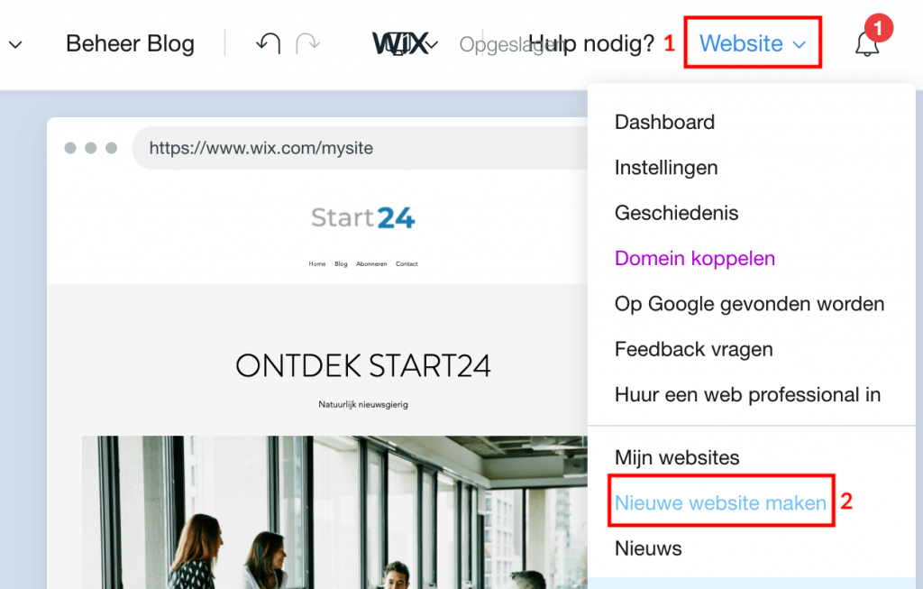 Wix nieuwe website maken