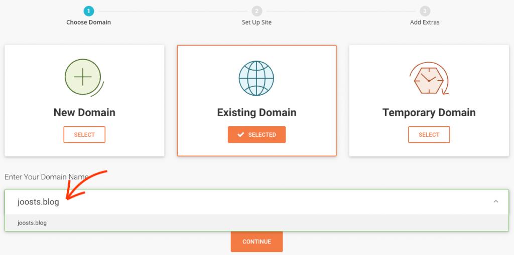 Voeg een domeinnaam toe via SiteGround.