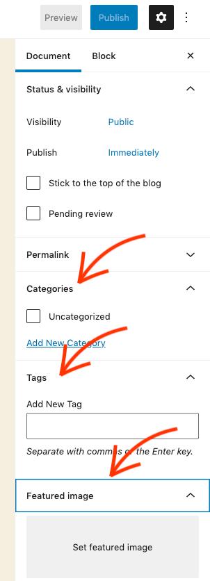 WordPress Gutenberg categories, tags en featured image.