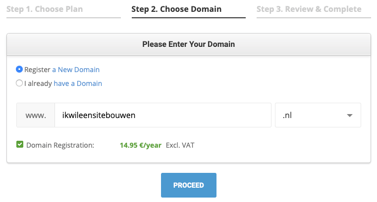 SiteGround domein kiezen.