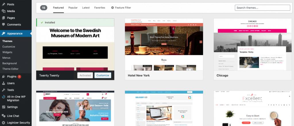 WordPress themes overzicht in het WordPress dashboard.