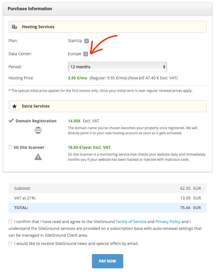 SiteGround betalen voor hosting.