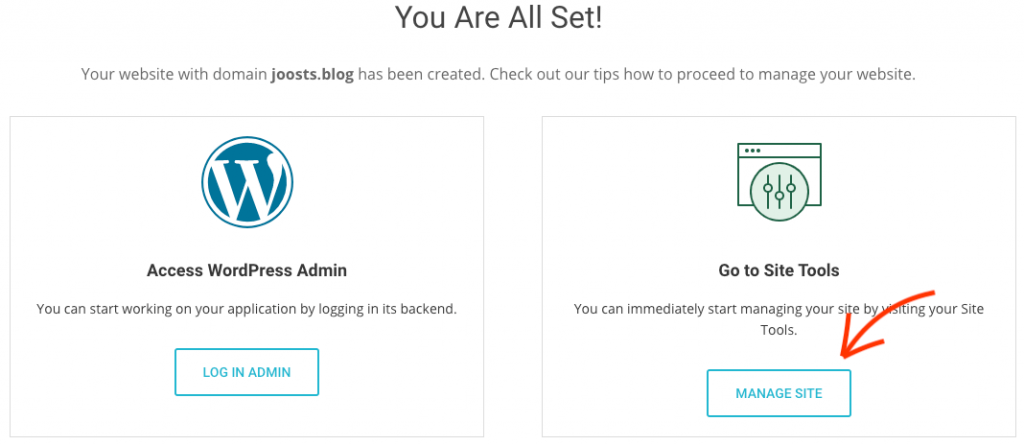 Manage site in SiteGround.