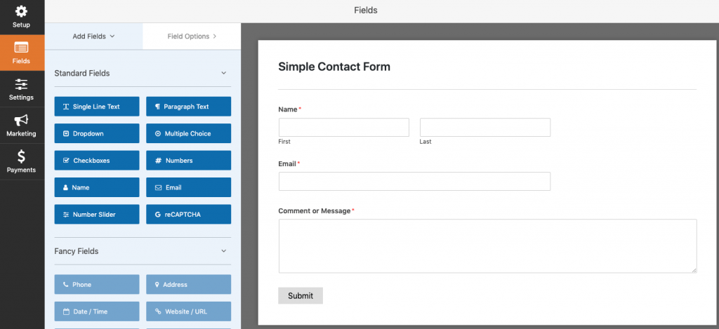 WPForms simple contact form.