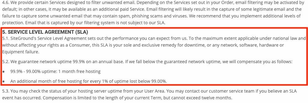 SiteGorund service level agreement.