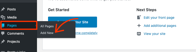 Voeg een nieuwe pagina toe in de WordPress dashboard.
