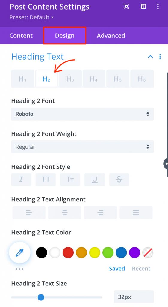 Divi post content settings design.