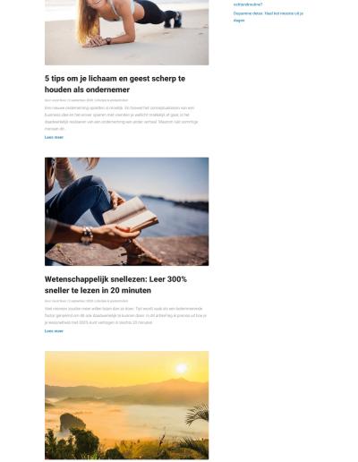 Divi blog pagina voorbeeld.