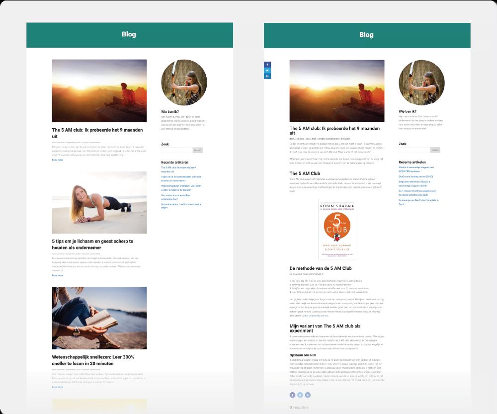 Divi blog design Start24 handleiding.