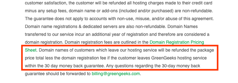 Domeinnaam kosten krijg je niet terug bij GreenGeeks.