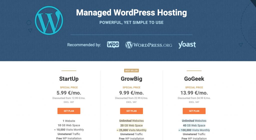 SiteGound WordPress hosting pakketten.
