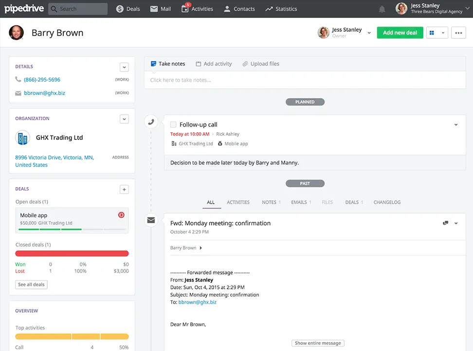 Contactmanagement met Pipedrive