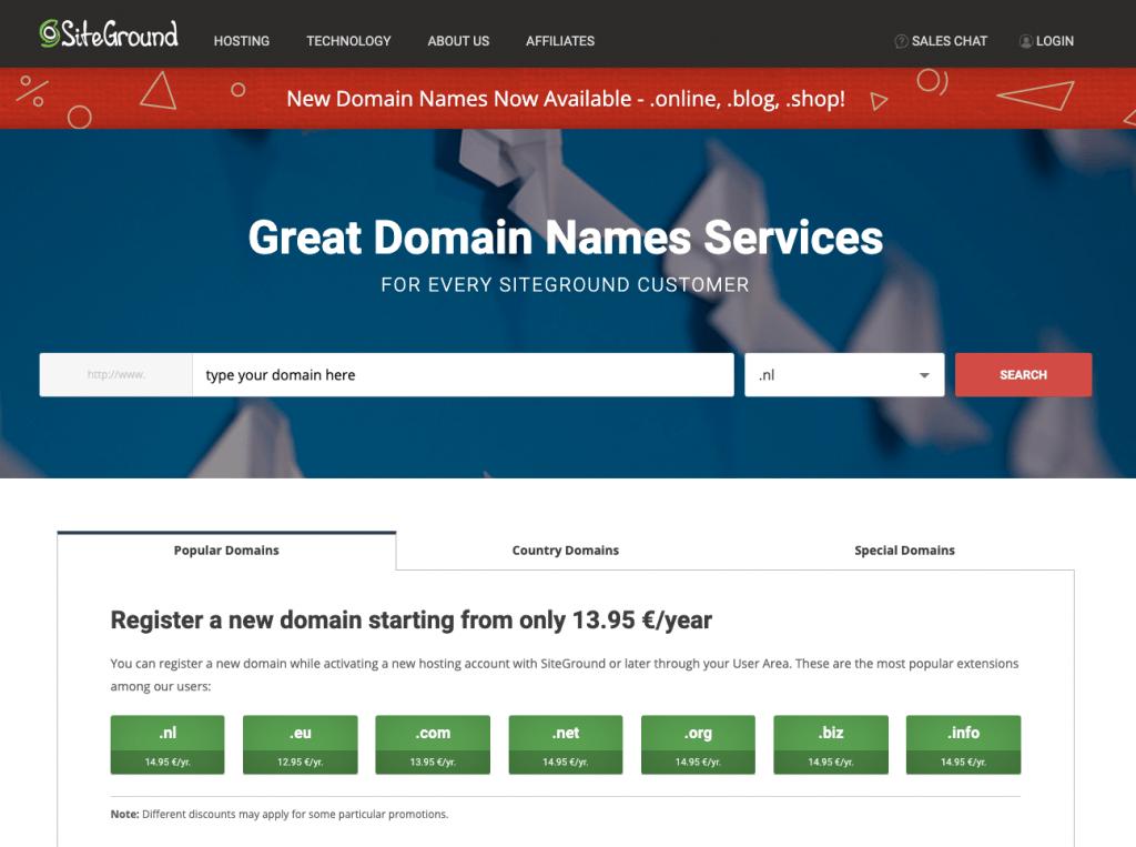 Siteground domeinnaam