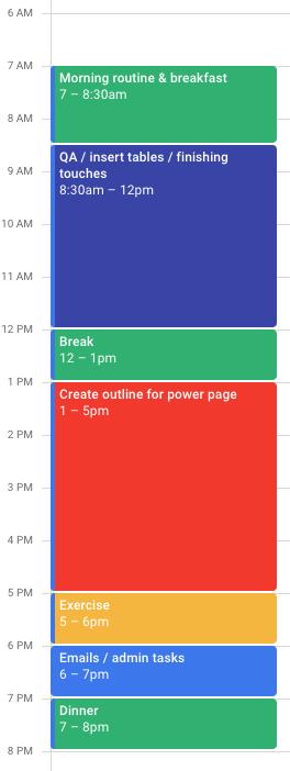 Timeboxing voorbeeld van kalender.