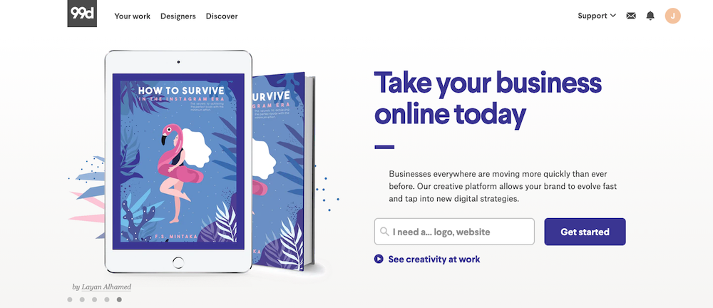 99designs homepage.