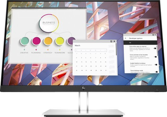 HP EliteDisplay E24 G4 - Full HD IPS Monitor - 24 Inch. Duurzame, ergonomische monitor met diverse verstelopties.