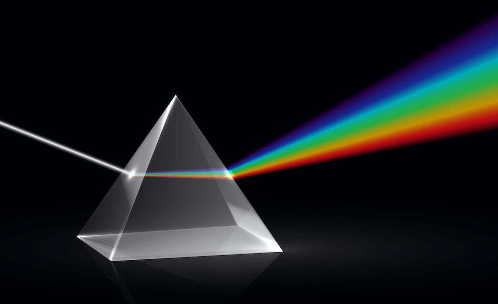 Prisma waar licht doorheen schijnt.