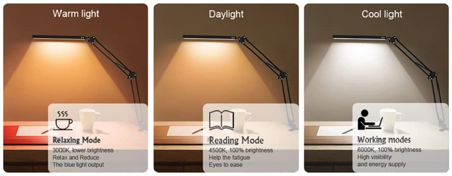 Verschillende standen van de SKYLEO LED bureaulamp: warm licht, daglicht en koel licht.