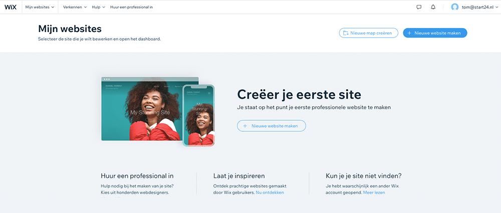 Wix biedt een gratis websitebouwer