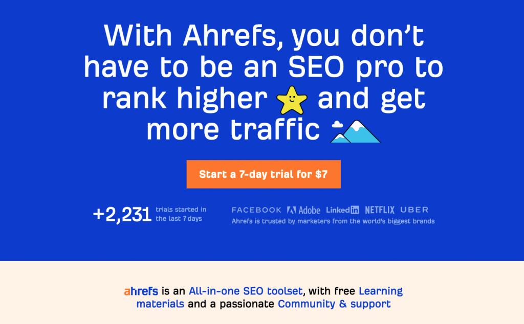 Homepage van Ahrefs
