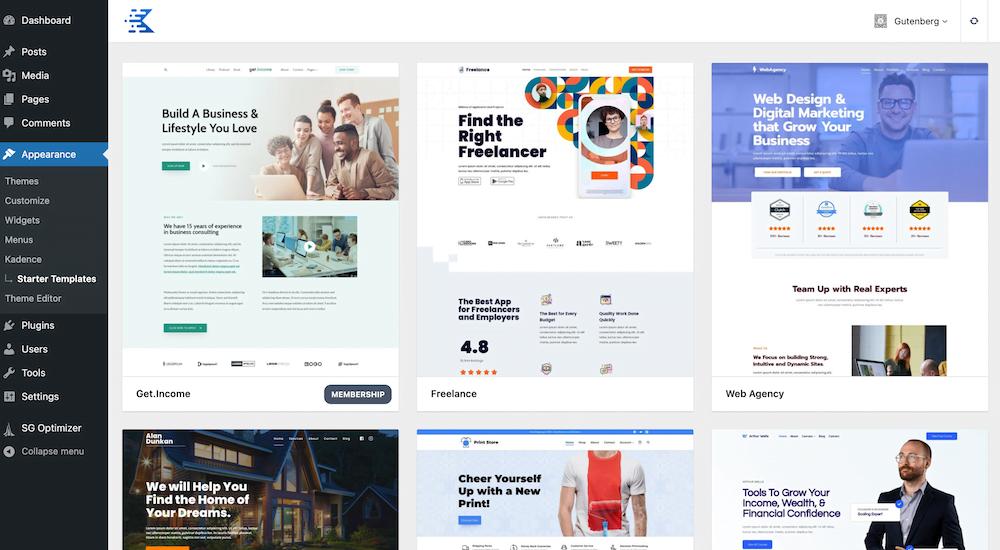 Kadence Starter Template kiezen in WordPress dashboard