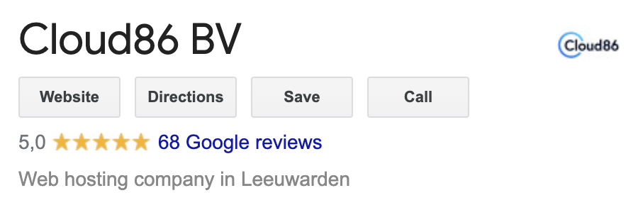 Google reviews van Cloud86