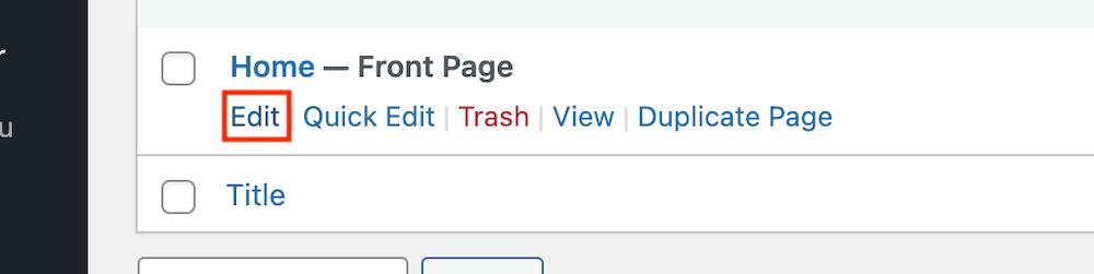 Front page bewerken WordPress