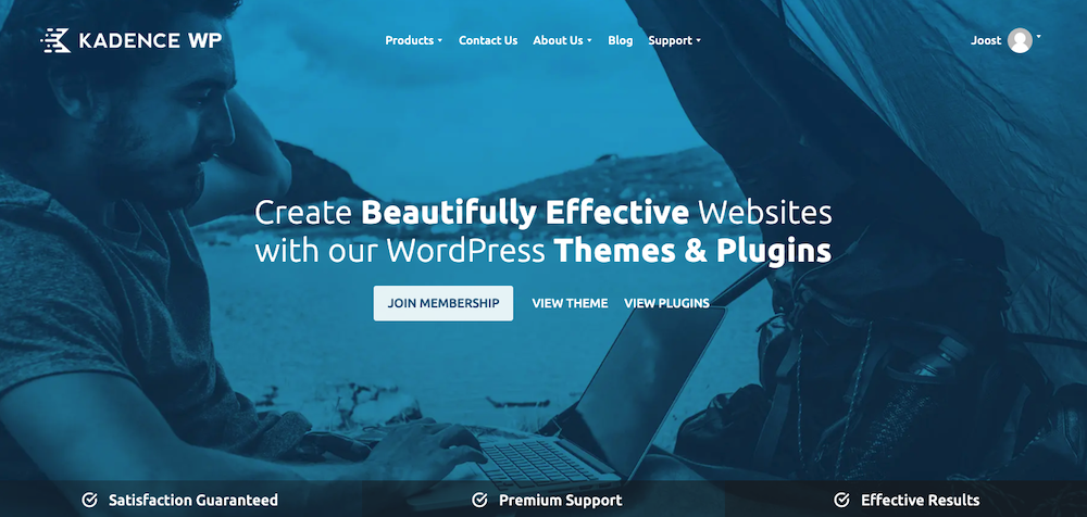 Homepage van Kadence WP (WordPress theme)