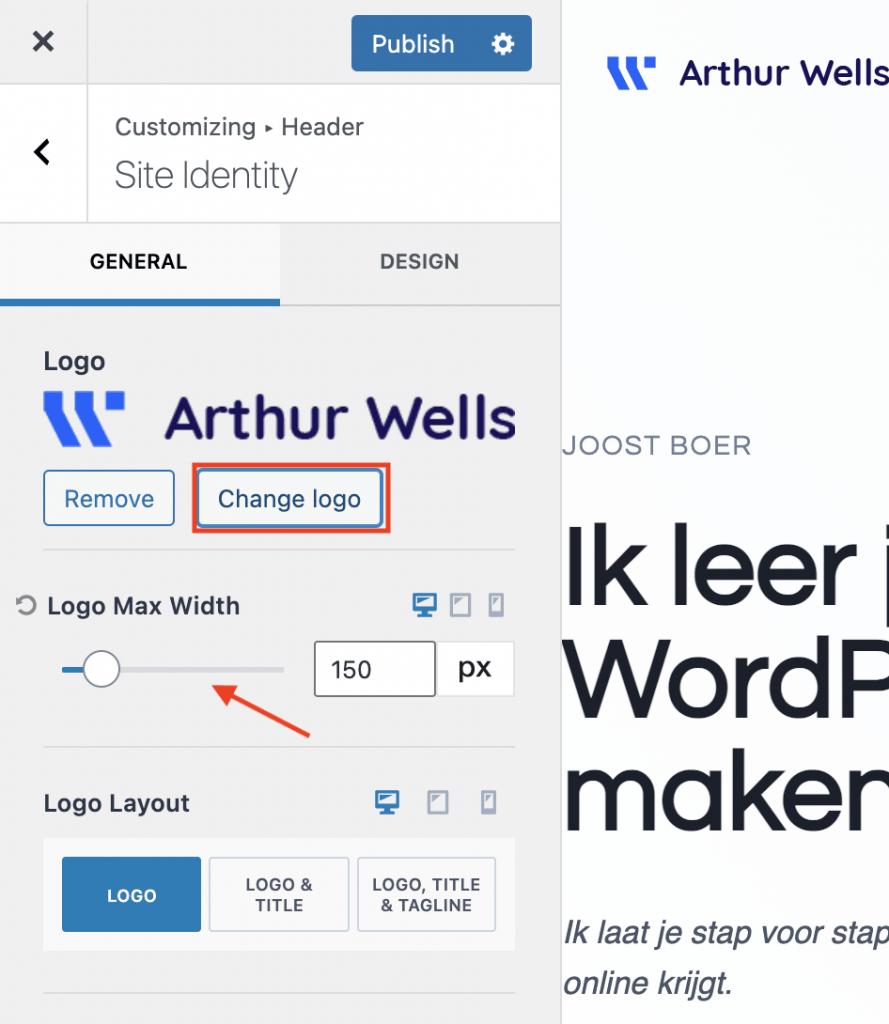 Logo aanpassen in WordPress