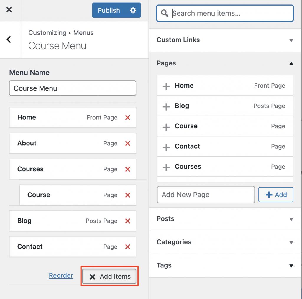 Pagina's toevoegen aan WordPress menu