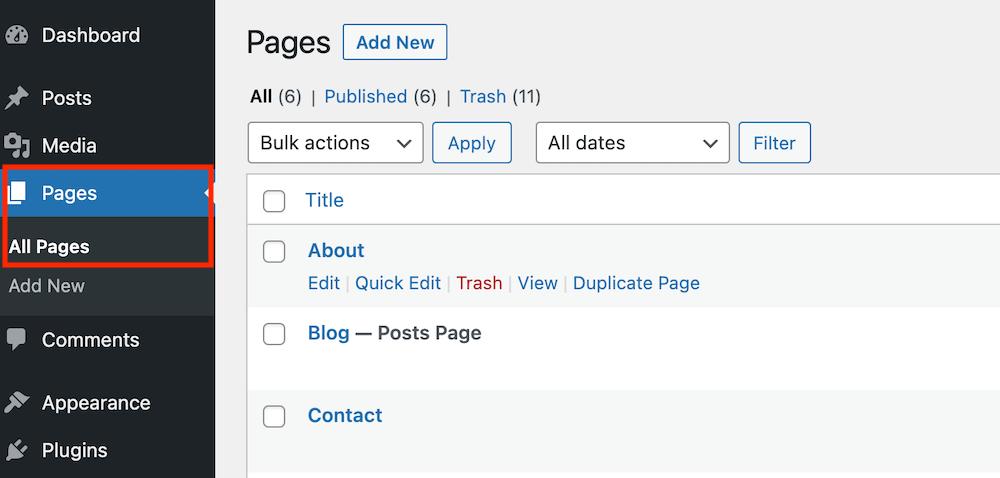 WordPress pagina's