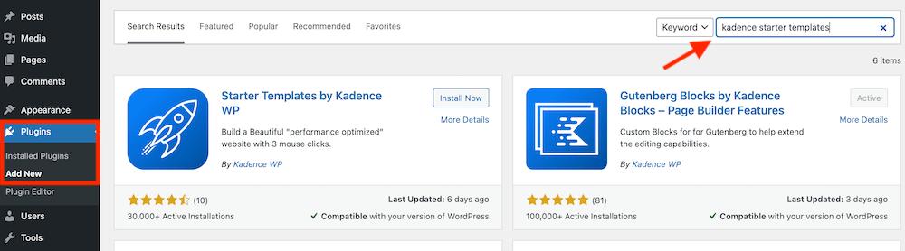 Zoeken naar Kadence starter templates