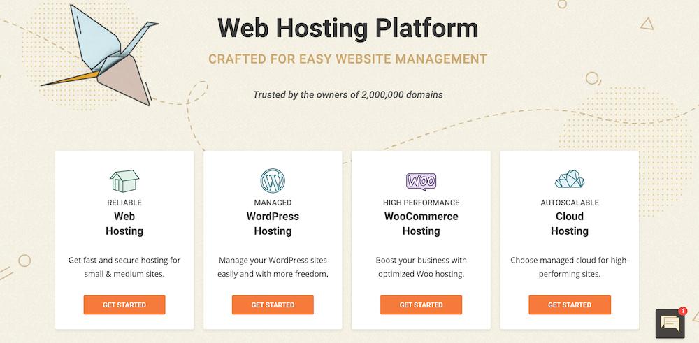 Homepage van SiteGround
