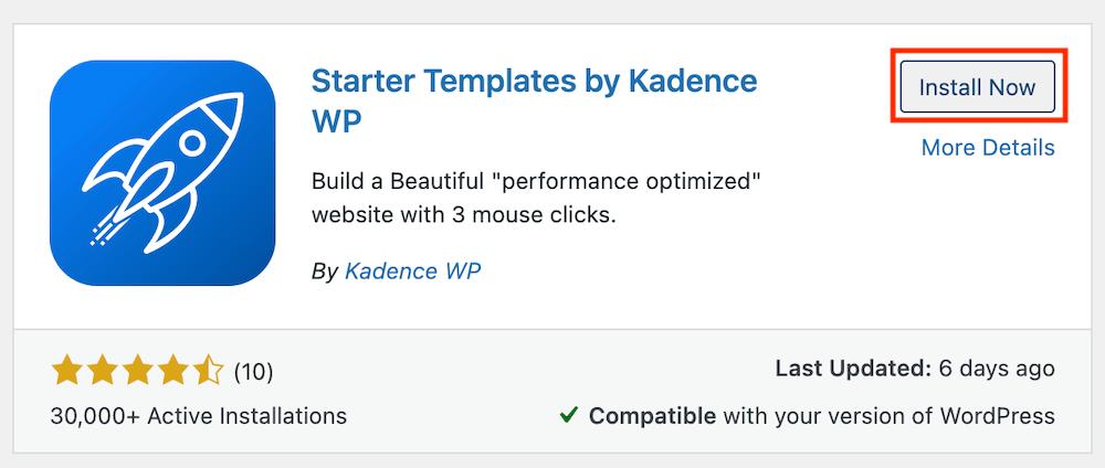 Kadence starter template activeren