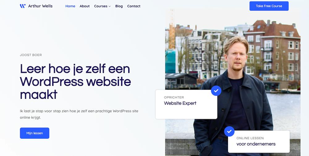 Voorbeeld WordPress website met Kadence gemaakt
