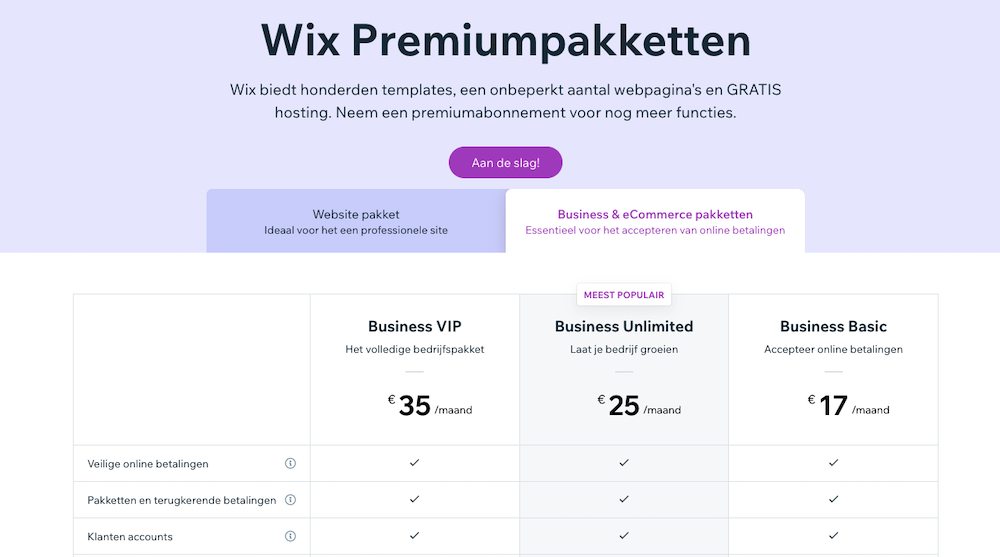 Wix betaalde pakketten