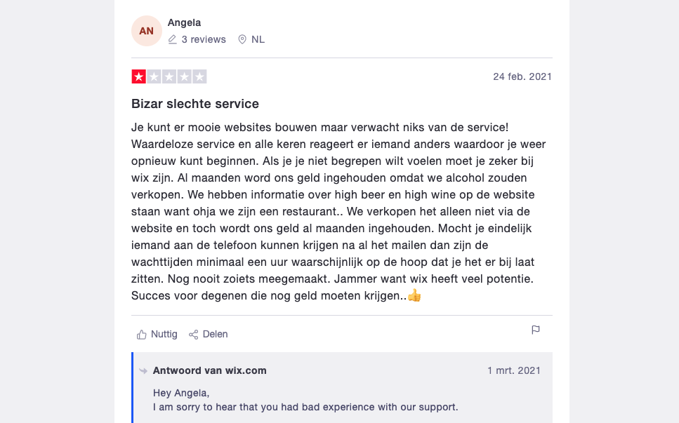 Wix review op Trustpilot