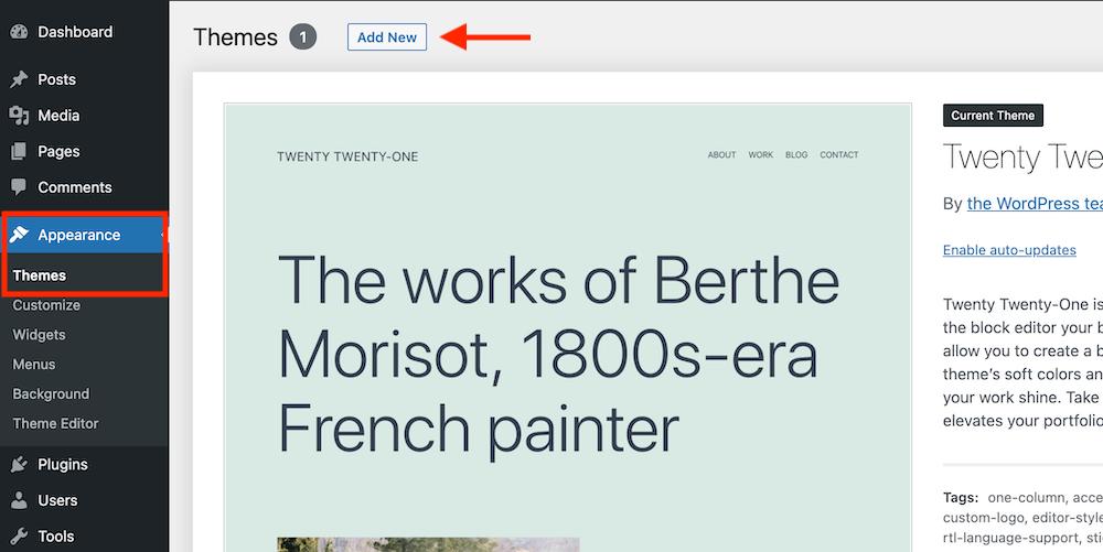 WordPress dashboard appearance, themes