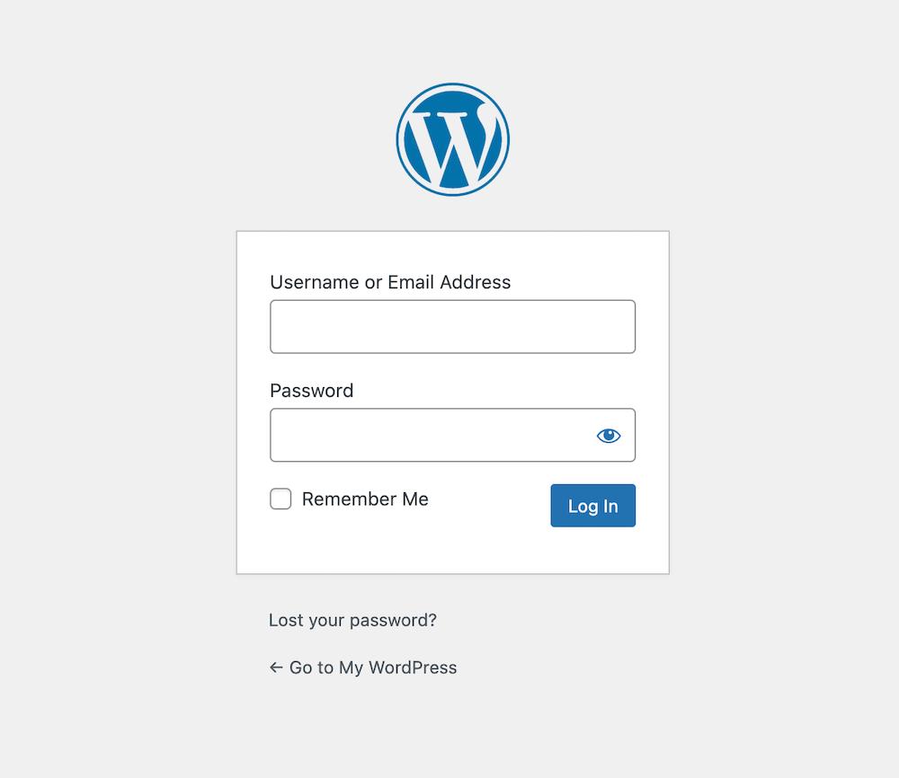 Inlogscherm van een WordPress website