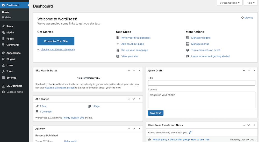 WordPress dashboard bij een nieuwe website