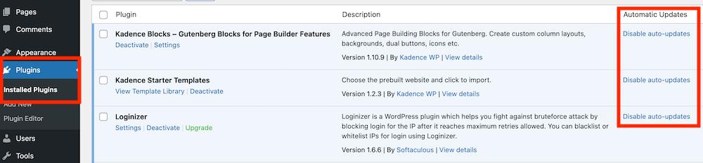 WordPress plugins updaten