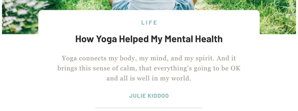 Voorbeeld van een yoga website